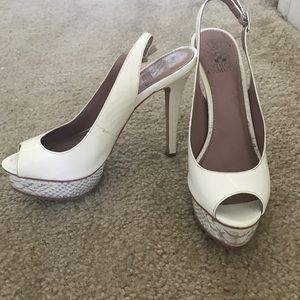 Vince Camuto white snakeskin heels